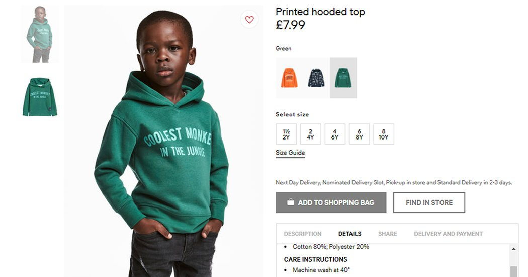 For Showing Black Child Wearing A 'Monkey In The Jungle' Sweatshirt, H&M Apologizes